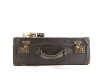 Vintage Black Leather Suitcase, Vintage Luggage