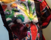 Summer Sun on Garden - Silky faille scarf -  women's fashion -  from original batik -