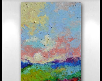 "Original Oil Painting 30"" x 40"" x 1.5"" Abstract Impressionist  Landscape Painting Ready To Hang by Claire McElveen"