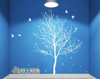 Wall Decal, wall Stickers ,Tree Wall Decals ,Wall decals, Removable, Tree and Birds, lonely tree, Lonely tree with birds DC0288
