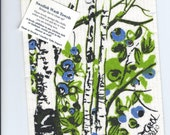 Swedish dish cloth -Blueberries and Birch designed by Carol Papaleo