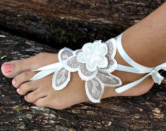 Beach Wedding Barefoot Sandals, Anklet Wedding Shoes, Summer Shoes, Ivory Barefoot Sandals, Foot Jewelry, Bridesmaid gift