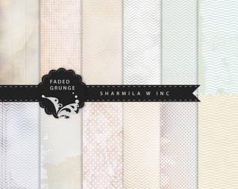 Wedding DIY Shabby Faded Vintage Grunge Digital Paper 12 pack