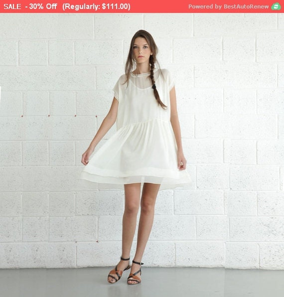 Summer Sale Sheer Cocktail Dress - Cream