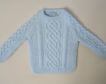 Celtic Design Baby Sweater in Baby Blue Acrylic Yarn - 9-12 Months