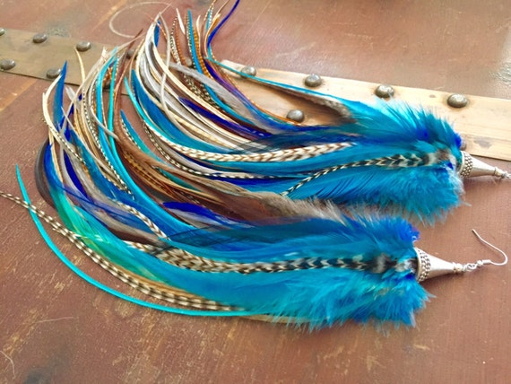 Blue Feather Earrings Long 13 inch XL Blue Goddess - Long Rooster Feathers, Thick and Full Feather Earings