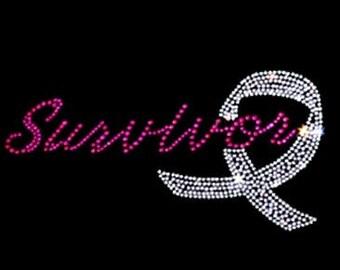Survivor Rhinestone Breast Cancer Awareness shirt