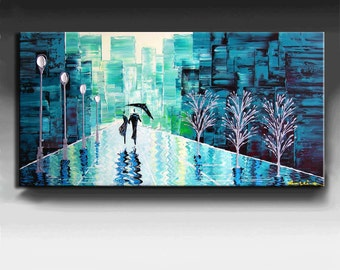 Cityscape Painting 48''x24''x1.5'' HUGE Original DEEP Artist Canvas  Textured Palette Knife Painting,   Ready to Hang