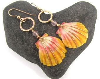 Sunrise Shell Earrings, Small Rare Hawaiian Shells, Gold Wire Wrapped, Orange, Pink Quartz, Hawaii Beach Jewelry, Mermaid Jewels, Gift Idea