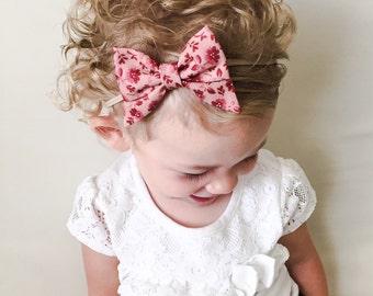 Maroon Sailor Bow Headband - Fabric Bow Maroon Mauve Sailor Bow Clip - Baby Sailor Bow Headband - Maroon Bow Baby Nylon Elastic Headband Bow
