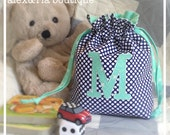 Monogram Wet Bag Drawstring with Initial Ring Bearer or Flower Girl Gift Personalized Bag for Kids Boy Girl Christmas Water Resistant Lining