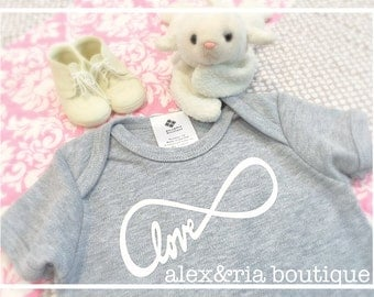Love Infinity Symbol Baby Bodysuit Gray for Boy or Girl Coming Home Outfit Baby Shower Gift New Mom Modern Kids Matte or Glitter Transfer
