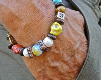 Men's Bohemian Rocker Bracelet with Semi Precious Gray Fire Agate, Tiger's Eye, Turquoise, Wood, Colorful Turquoise Skulls, Copper Cubes