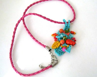 Colorful beaded jewelry necklace, Turquoise pendant, Seed bead necklace, Boho necklace, Handmade