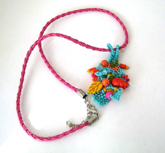 colorful beaded necklace boho pendant seed bead necklace