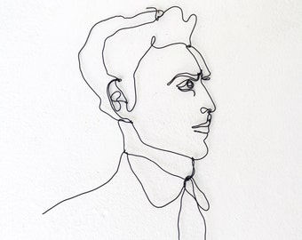 Wire wall art - Profile of a man  - wall sculpture - gift idea