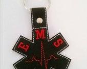 EMS Key Fob, Keychain, EMT Paramedic First Responder Gift