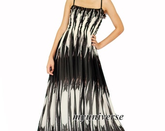 Black And White Line Maxi Dress Gown Prom Plus Size Evening Dress Unique