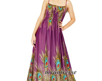 Plus Size Clothing Peacock Maxi Dress Women Prom Long Purple Chiffon Dress