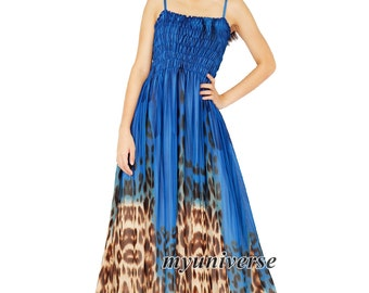 Maxi Dress Leopard Print Sundress Dress Prom Summer Plus Size Chiffon Dress