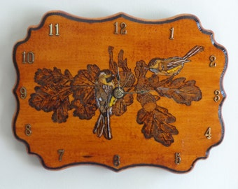 """9"""" x 12"""" Wood Burned/Painted Chickadee Clock/Country/Cabin/Rustic"""