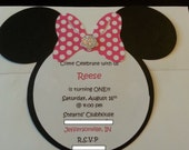 Minnie Mouse Inspired Invites w/ Envelopes - Set of 15- Made to Order