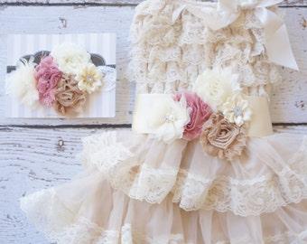 Flower Girl Dress - Lace Flower girl dress - Baby Lace Dress - Rustic - Country Flower Girl - Lace Dress - Lace dress - Dusty Rose