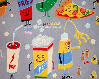 Fabric 1 Yard Anthropomorphic SNAPPY SNACKS Gray Nicole's Prints Alexander Henry Food Pizza French Fries Pickles Kitchen Quilting Sewing