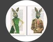 2 Prints: Lady and Mister Rabbit in sixties clothes,Print Illustration Acrylic Painting Animal Painting Picture Wall Art Rabbit illustration