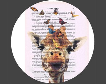 Happy Giraffe and Butterflies pop, Funny poster, Dictionary Print poster, Happy Giraffe Gift poster, Dorm College Home Wall decor,decorative