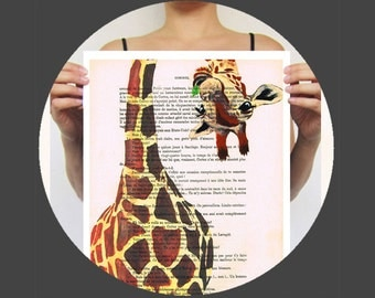 Animal painting illustration glicee drawing illustration portrait painting mixed media digital print POSTER 11x16: Giraffe with green leave