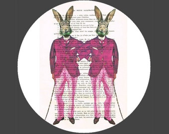 Gay Rabbits moustache Print Print Illustration Acrylic Painting Gay Painting Gay Picture gay Art homo illustration painting Gaypride