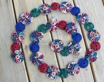 Country Yo Yo Garland Handmade 5 Feet Long