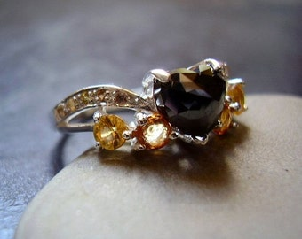 Autumn - Genuine Black Moissanite & Sapphire Ring - Solid 925 Sterling Silver Ring - Unique Wedding Ring - Heart Cut - OOAK Engagement Ring
