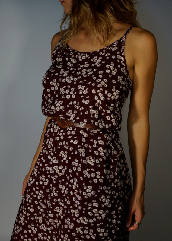 Designer Vintage Maxi Dress S M Maroon Floral Daisies Amy Byer