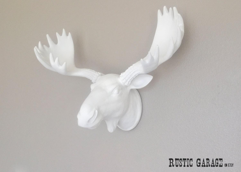 White mighty moose custom color faux moose head by rusticgarage - Fake stuffed moose head ...