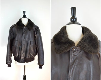 Vintage men's 1970's Excelled leather flyer shearling lined jacket / brown genuine leather motorcycle coat with faux shearling lining