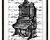 Antique Pipe Organ Illustration Music Wall Art Print Collage, Home & Living, Home Decor, Housewares, Gift Ideas, Organ Player Gift