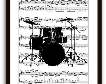 Drum Set Music Book Page Art Print, Rock Band Drum Player, Gift Ideas, Jazz, Pop, Rock, Country Band, Dorm Room, Home & Living