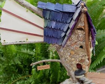Windspinner Fairy Cottage - OOAK.  Door opens. Removable roof.