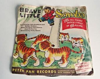 Little Brave Sambo Vintage Record  Pinocchio Peter Pan Records Black Americana 1950's