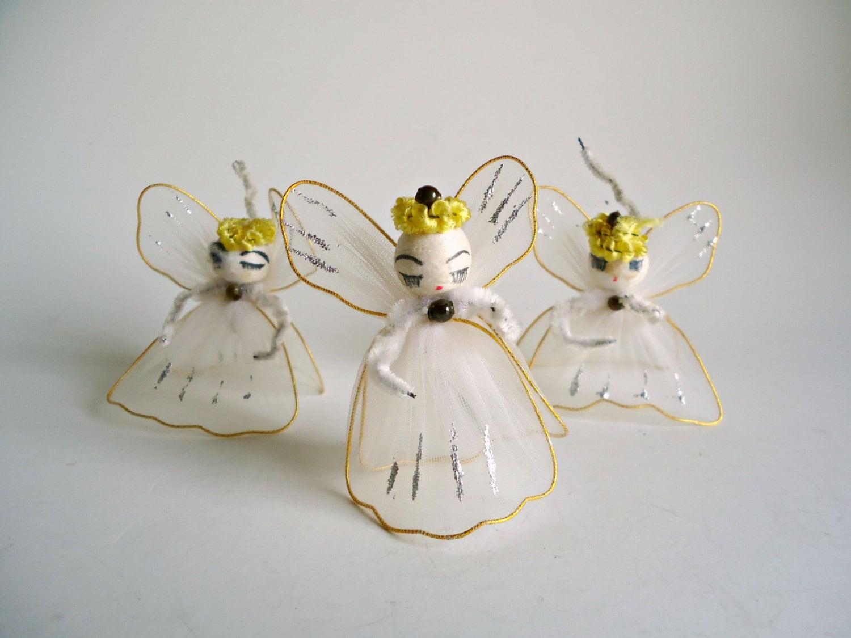 Vintage christmas angel ornaments s cotton spun
