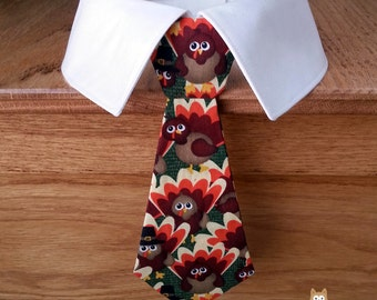Thanksgiving Dog Tie with Turkeys, Removable Thanksgiving Dog Tie or Bow Tie and Shirt Collar