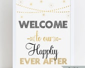Printable Welcome to our Happily Ever After Sign - Gold Foil Effect - Ready to Print - Hanging Lights and Fireworks - Black and Gold Signage