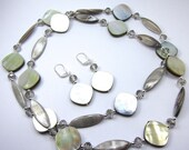 Light Brown, Grey, and Silvery Mother of Pearl Shell and Crystal Necklace and Earring Set