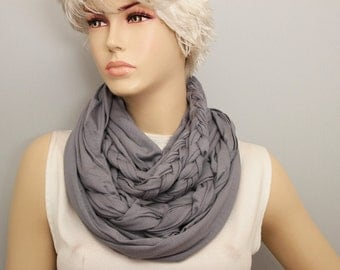 Grey loop infinity Scarf braided  ,viscose jersey loop scarf