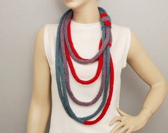 Knitted lariat,knitted loop scarf, knit infinity chain scarf,  lariat  scarf,