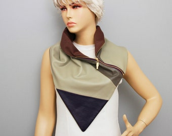 Genuine  leather neckwarmer with zipper and  lining ,man  NECKWARMER  with snaps , men scarf ,Purple and ivory