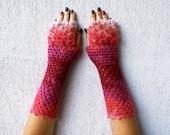 Fingerless Gloves Crochet Shell Trim Knit arm warmers romantic lace fingerless gloves gift for her Fall Mittens Womens Gloves Wrist Warmers