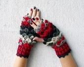 Fingerless gloves Fingerless mittens Knit gloves Girl's wool fingerless gloves Dragon scale gloves in red white grey Goth fingerless gloves